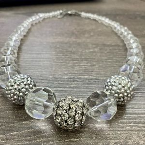 Sparkly statement necklace, clear and silver balls